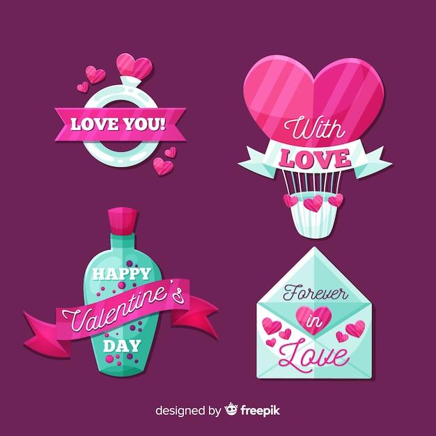 Valentijnsdag labelverzameling Gratis Vector