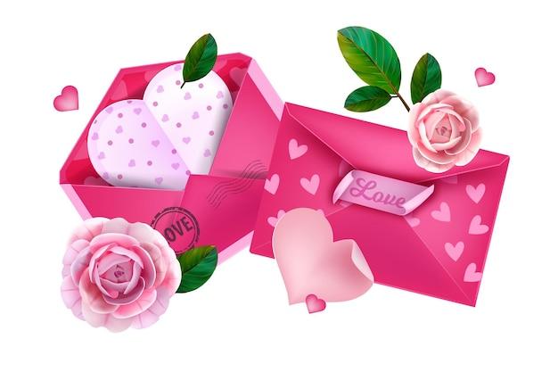 Valentijnsdag liefde enveloppen leggen illustratie. Premium Vector