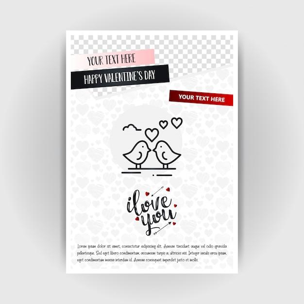 Valentijnsdag liefde poster sjabloon. plaats voor afbeeldingen en tekst, vectorillustratie Gratis Vector
