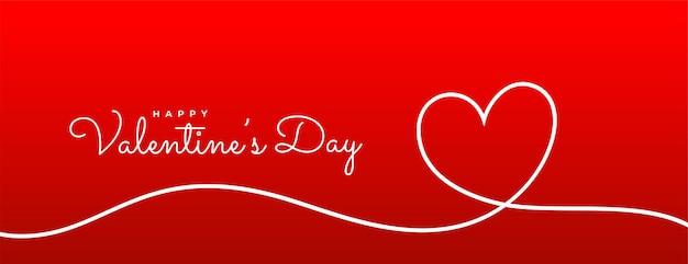 Valentijnsdag lijn hart rode banner Gratis Vector