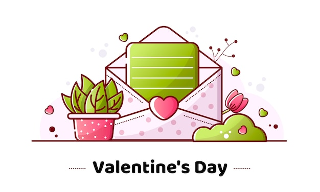 Valentijnsdag lineaire afbeelding Premium Vector