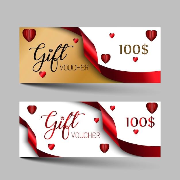 Valentijnsdag luxe cadeaubonnen instellen Premium Vector