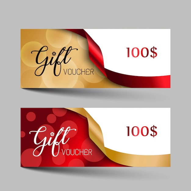 Valentijnsdag luxe cadeaubonnen instellen. Premium Vector