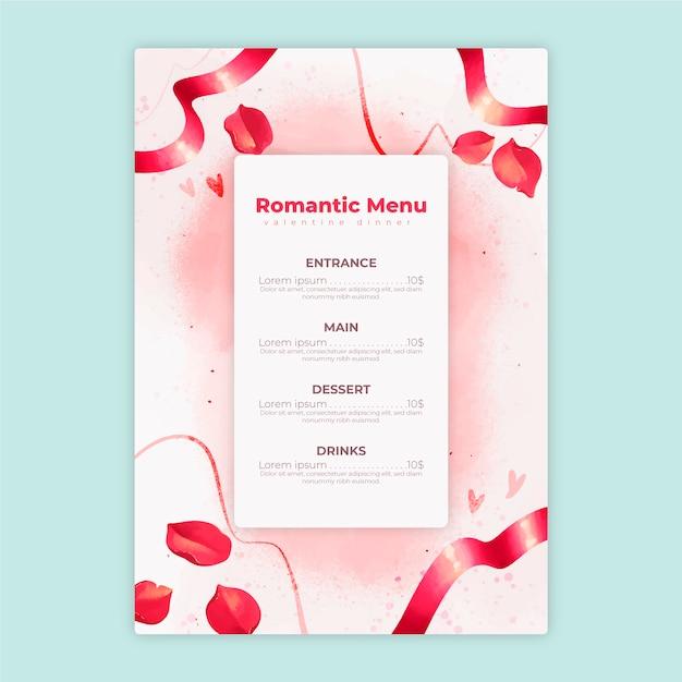 Valentijnsdag menusjabloon in aquarel Gratis Vector