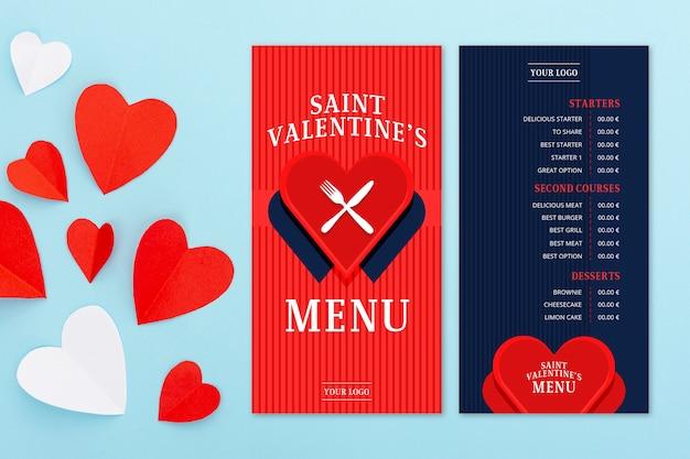 Valentijnsdag menusjabloon in platte ontwerp Gratis Vector