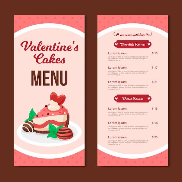 Valentijnsdag menusjabloon met cake Gratis Vector