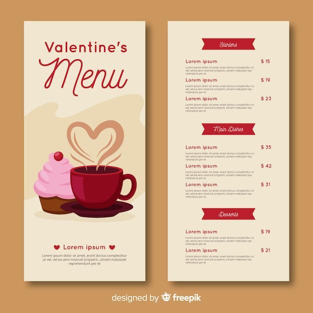 Valentijnsdag menusjabloon Gratis Vector