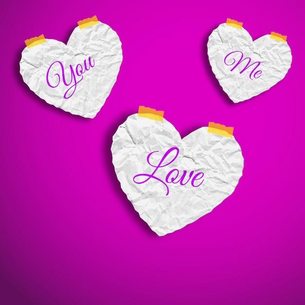 Valentijnsdag met gekreukt papier witte harten met woorden geïsoleerde vectorillustratie Gratis Vector