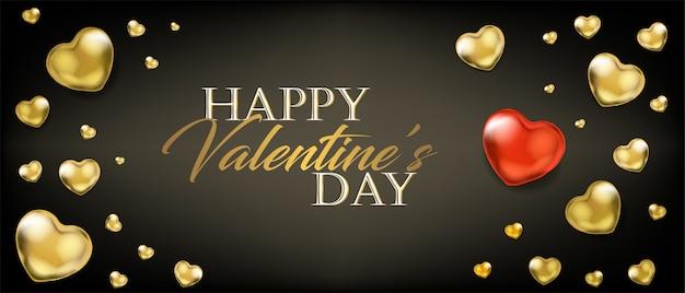 Valentijnsdag met gouden hart ballonnen Premium Vector