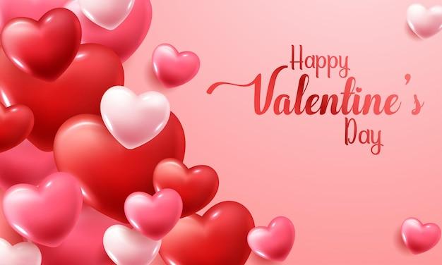 Valentijnsdag met rode en roze harten Gratis Vector