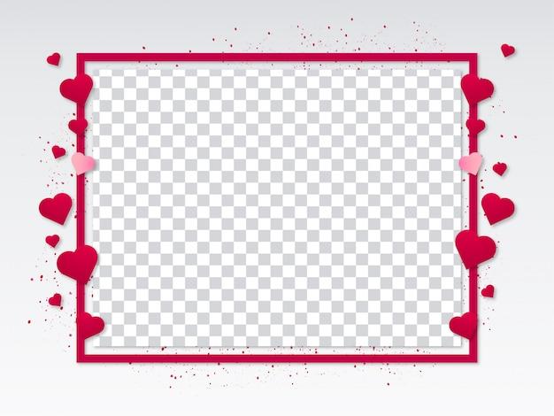 Valentijnsdag moderne frame met harten Gratis Vector