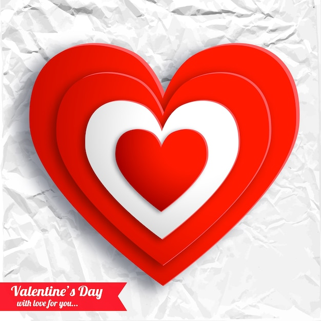 Valentijnsdag mooie achtergrond met rode harten op wit verfrommeld papier geïsoleerde vectorillustratie Gratis Vector