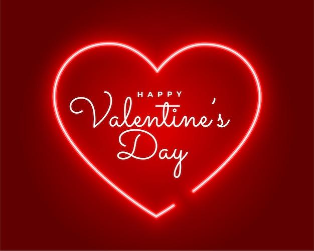 Valentijnsdag neon stijl groet ontwerp Gratis Vector