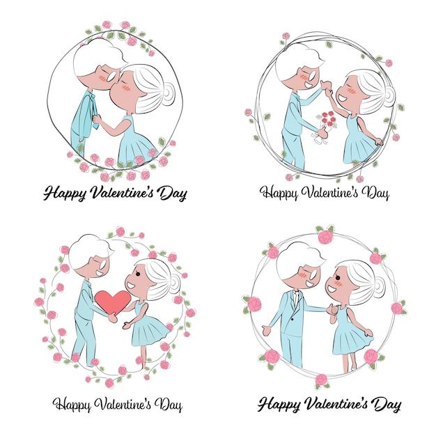 Valentijnsdag of bruidspaar in de hand trekt rozen krans Premium Vector