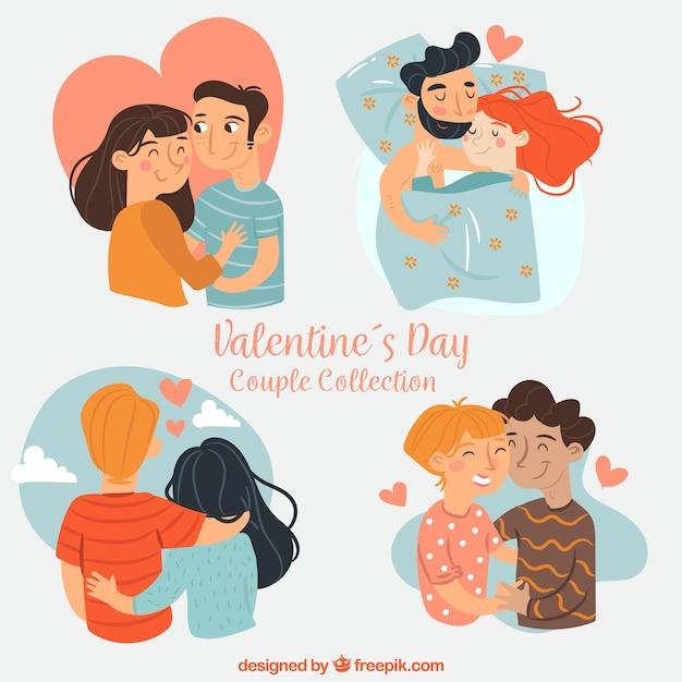 Valentijnsdag paar collectie Gratis Vector