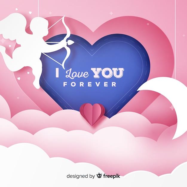 Valentijnsdag papier cherubijn achtergrond Gratis Vector