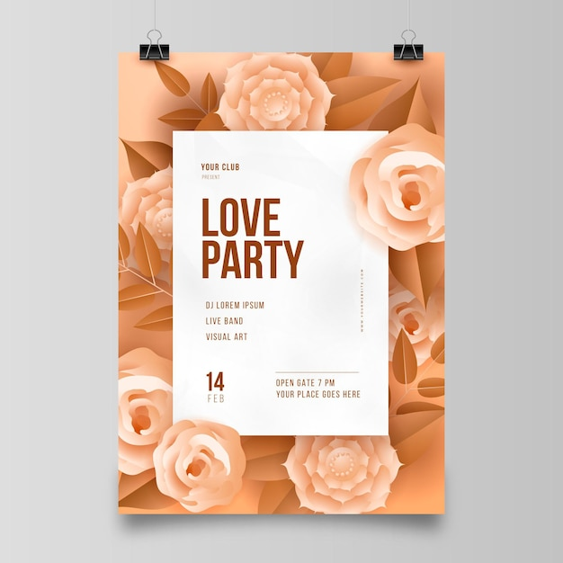 Valentijnsdag partij flyer in papieren stijl Gratis Vector