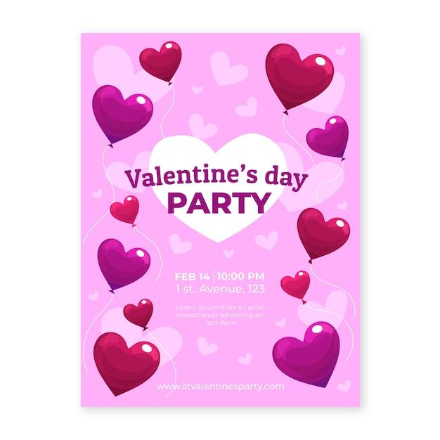 Valentijnsdag partij flyer met hartvormige ballonnen Gratis Vector