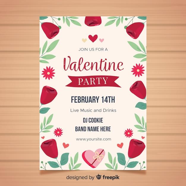 Valentijnsdag partij flyer sjabloon Gratis Vector