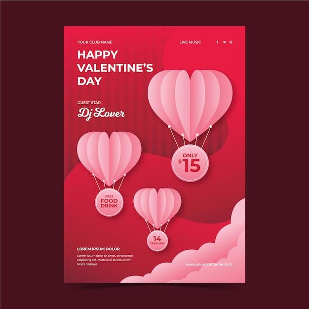 Valentijnsdag partij folder sjabloon in papieren stijl Gratis Vector