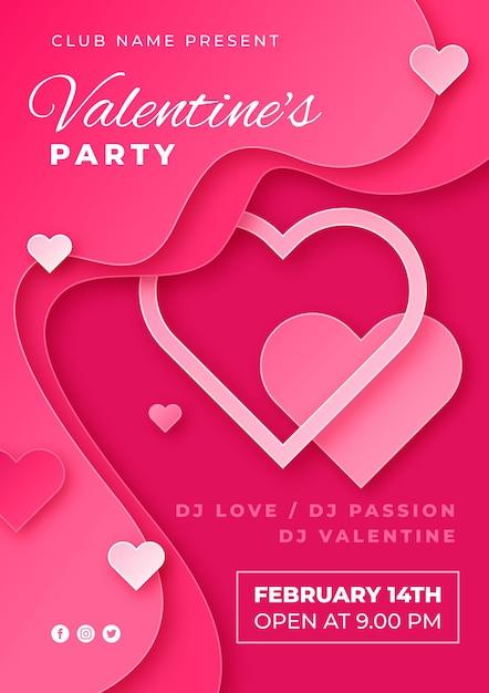 Valentijnsdag partij poster in papieren stijl Gratis Vector