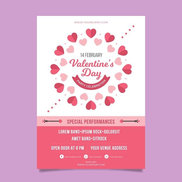Valentijnsdag partij poster sjabloon Gratis Vector