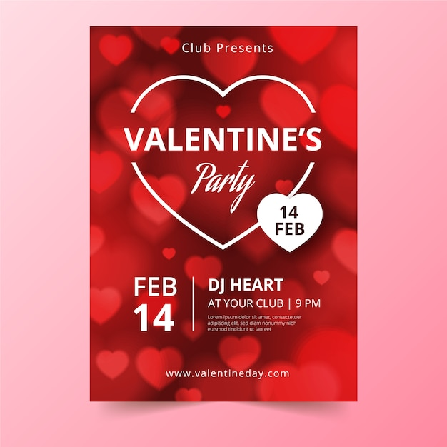 Valentijnsdag partij poster Gratis Vector