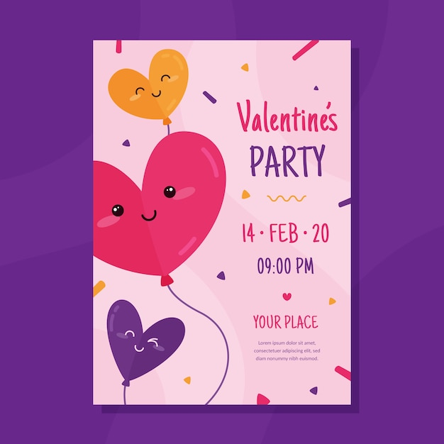 Valentijnsdag partij sjabloon folder Gratis Vector