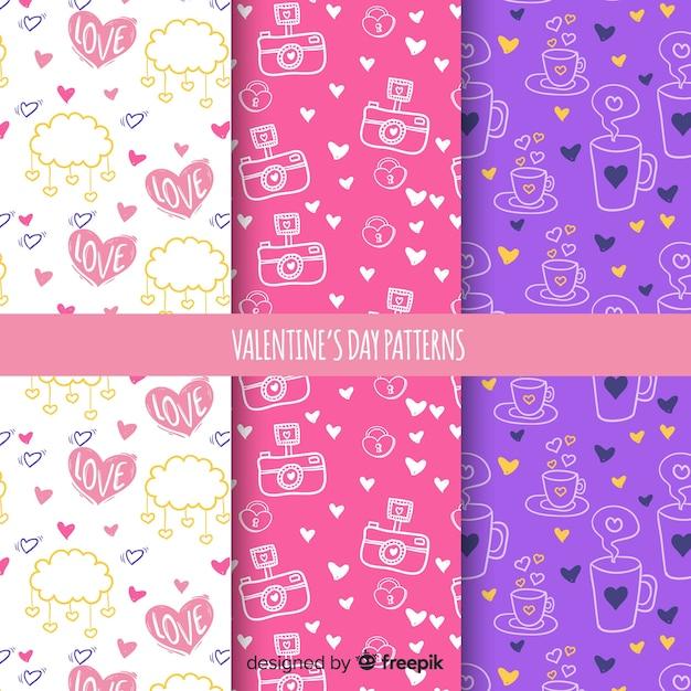 Valentijnsdag patroon collectie Gratis Vector