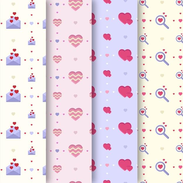 Valentijnsdag patrooncollectie in plat ontwerp Gratis Vector