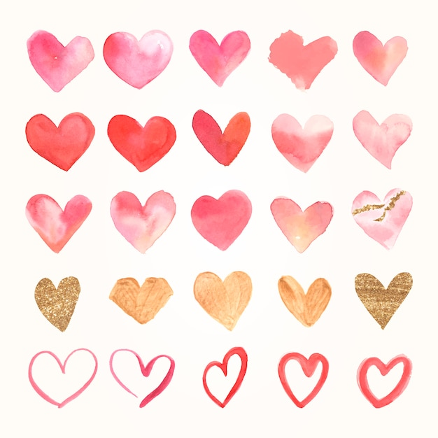 Valentijnsdag pictogram aquarel set Gratis Vector