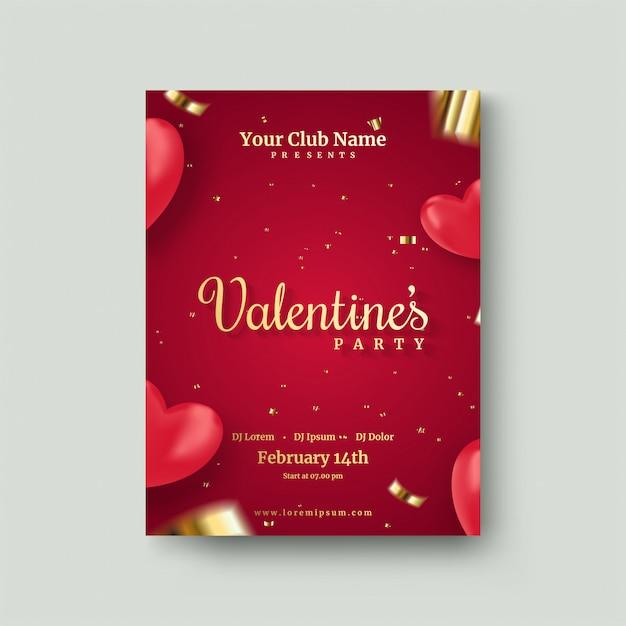 Valentijnsdag poster met 3d rode liefde ballonnen Premium Vector