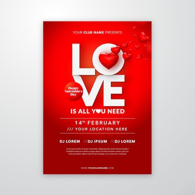 Valentijnsdag poster met liefde belettering voor flyer of dekking Premium Vector