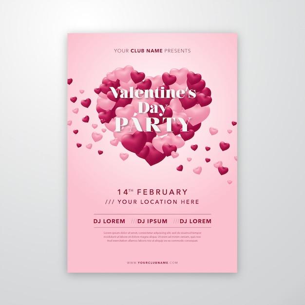Valentijnsdag poster met vliegende harten vormen een hartvorm voor flyer of dekking Premium Vector