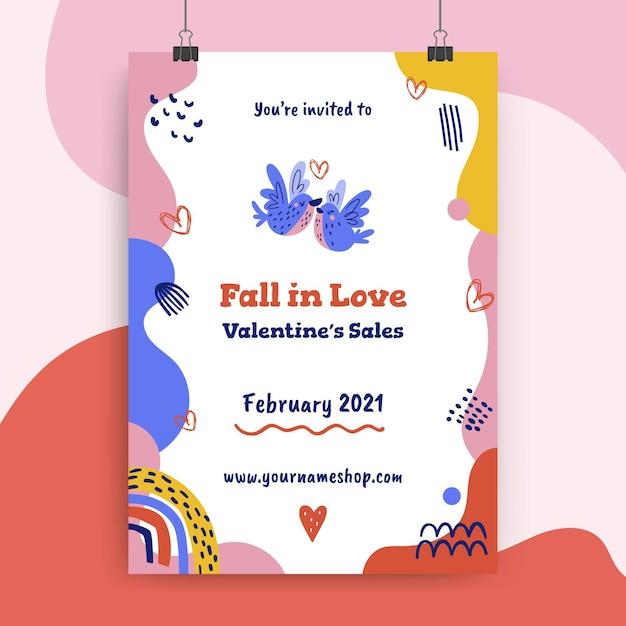 Valentijnsdag poster sjabloon Gratis Vector