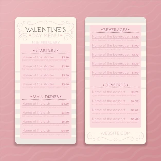 Valentijnsdag restaurant menusjabloon Gratis Vector