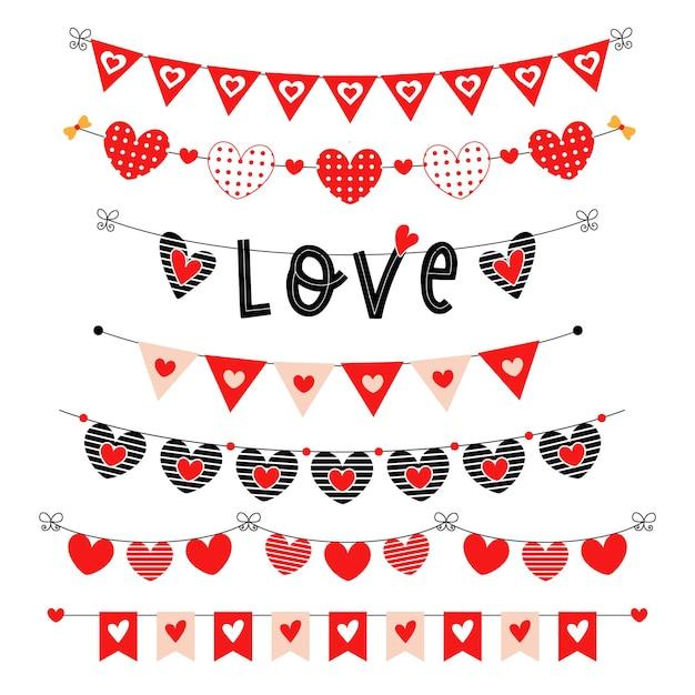 Valentijnsdag rode bunting set. partij driehoek vlaggen met hartjes. Premium Vector