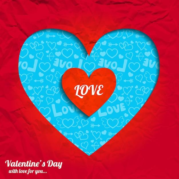 Valentijnsdag romantisch met gesneden hart van rode verfrommeld papier vectorillustratie Gratis Vector