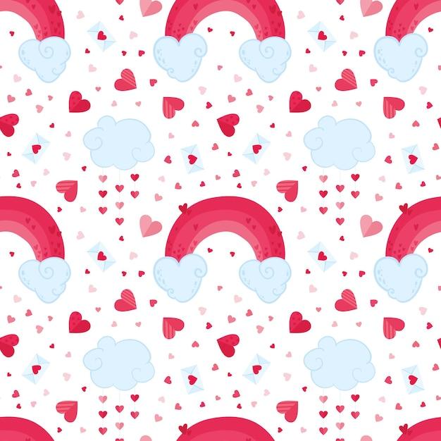 Valentijnsdag romantisch naadloos patroon. 14 februari vakantie decoratieve achtergrond. wolken, roze regenbogen en liefdesbrieven achtergrond. feestelijk schattig inpakpapier, textielontwerp Gratis Vector