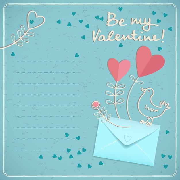 Valentijnsdag romantische kaart met envelop vogel kleurrijke harten en tekstveld in doodle stijl op blauwe achtergrond vectorillustratie Gratis Vector