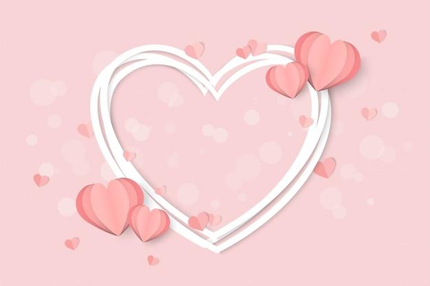 Valentijnsdag roze met hartvorm Premium Vector