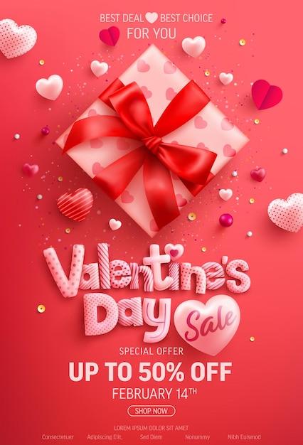 Valentijnsdag sale 50% korting op banner met schattige geschenkdoos en zoete hartjes op rood Premium Vector