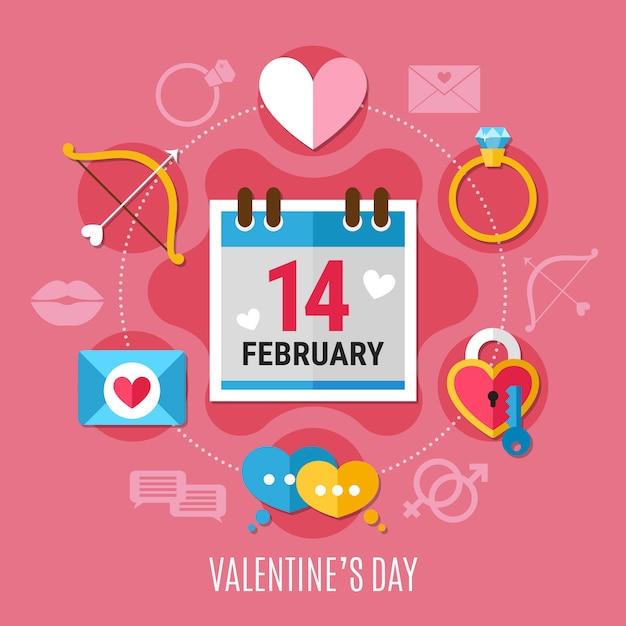 Valentijnsdag samenstelling Gratis Vector