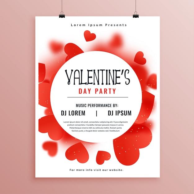 Valentijnsdag uitnodiging flyer sjabloonontwerp Gratis Vector