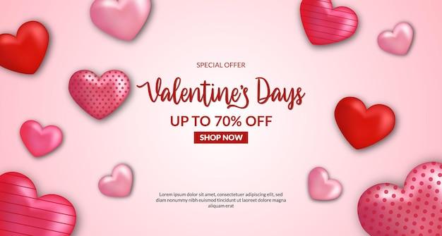 Valentijnsdag verkoop aanbieding banner kortingspromotie met 3d hartvorm illustratie. roze rode kleur Premium Vector