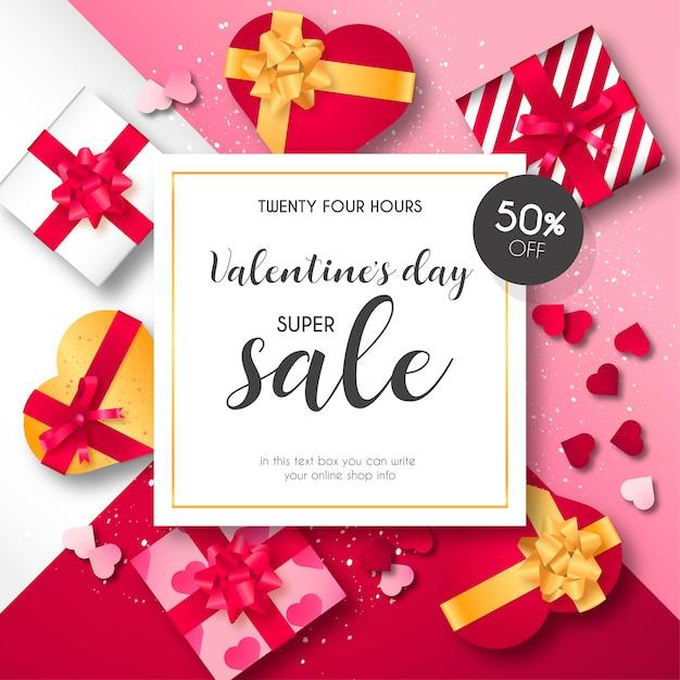 Valentijnsdag verkoop achtergrond Gratis Vector