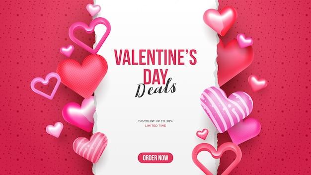 Valentijnsdag verkoop banner achtergrond Premium Vector