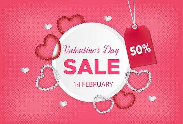Valentijnsdag verkoop banner met kortingsetiket Premium Vector