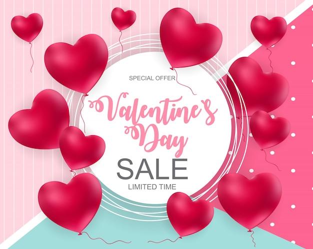 Valentijnsdag verkoop banner Premium Vector