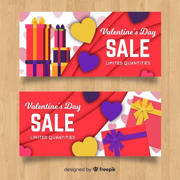 Valentijnsdag verkoop banner Gratis Vector